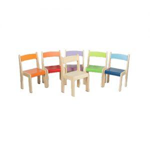 Serie Arco Sedia Iris in legno tutte le altezze accatastabile