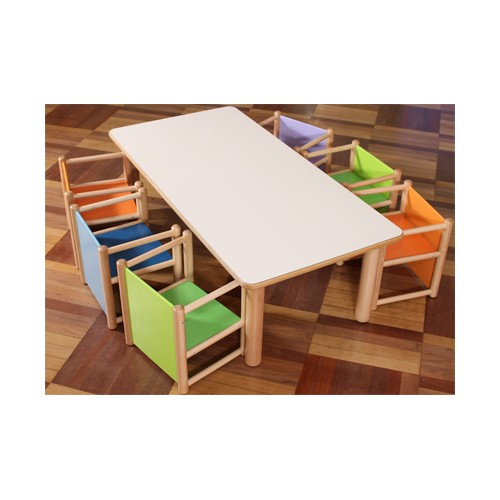 Set tavolo rettangolare 6 sedie pluriuso per asilo for Arredi nido