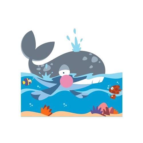 Il grande mare pannello decorativo balena linea for Arredo asili nido