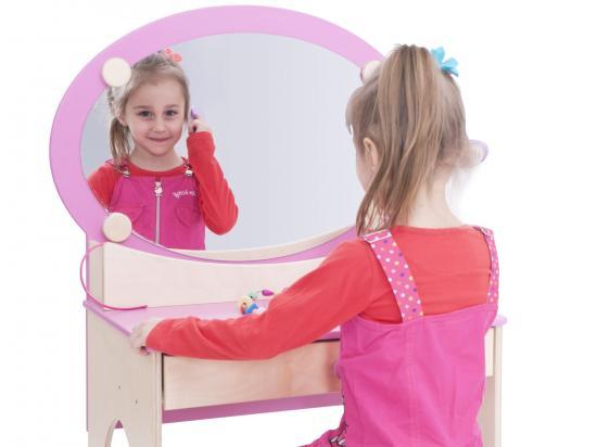 Set toeletta in legno con specchiera e sgabello arredo per