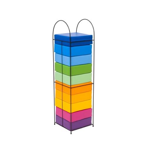 Portacuscini set 10 pouf arcobaleno arredo per for Arredo per asili