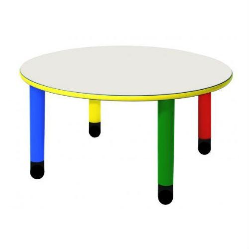 Tavolo rotondo con gambe colorate materna arredo per for Arredo per asili